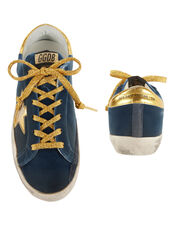 Superstar Blue Knit Gold Star Sneakers, NAVY, hi-res