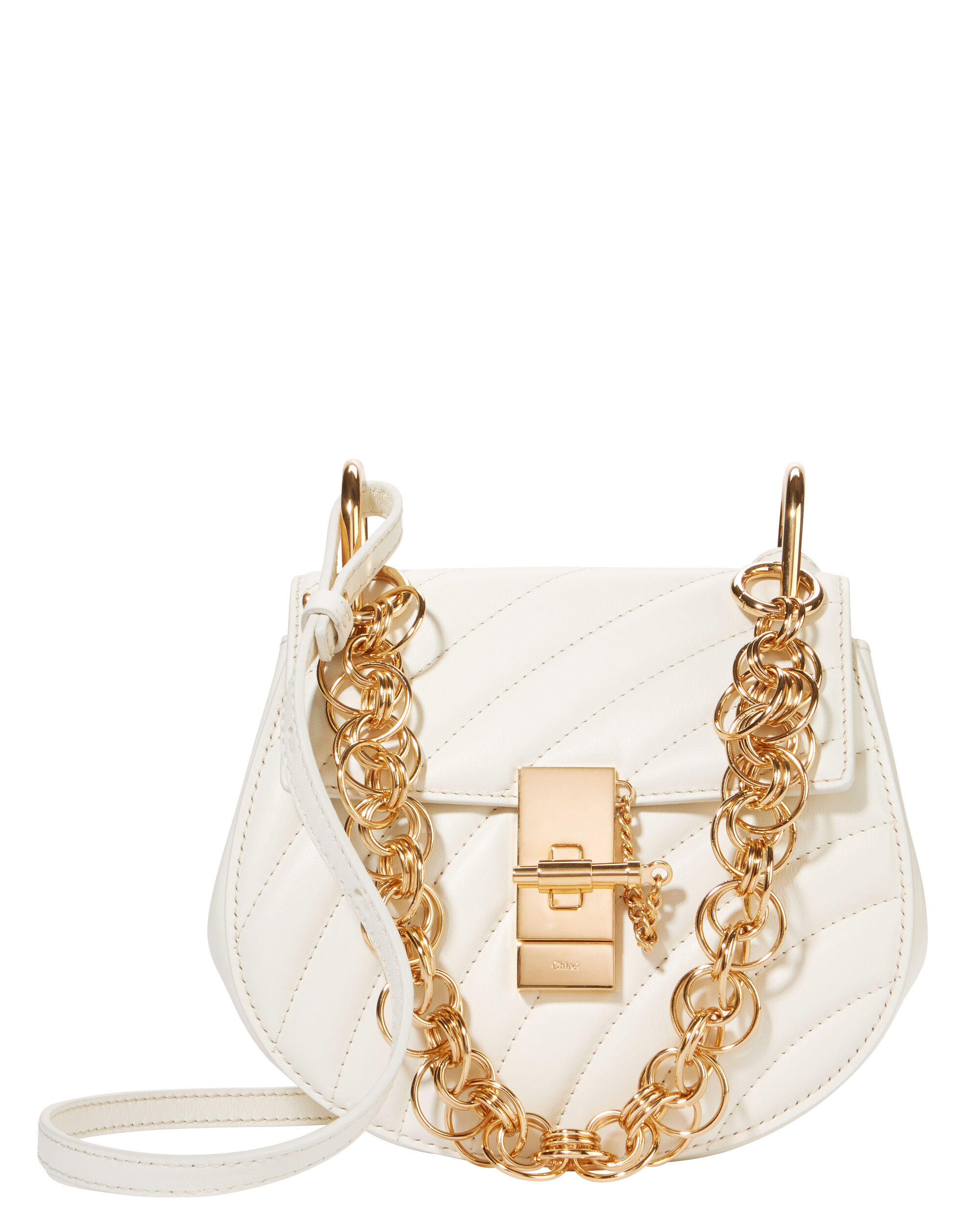 Drew Quilted Small Shoulder Bag, WHITE, hi-res