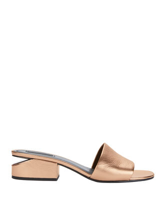 Lou Rose Gold Leather Slide Sandals, METALLIC, hi-res