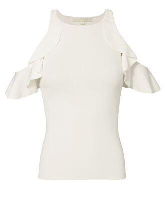 Ruffled Cold Shoulder Top, WHITE, hi-res
