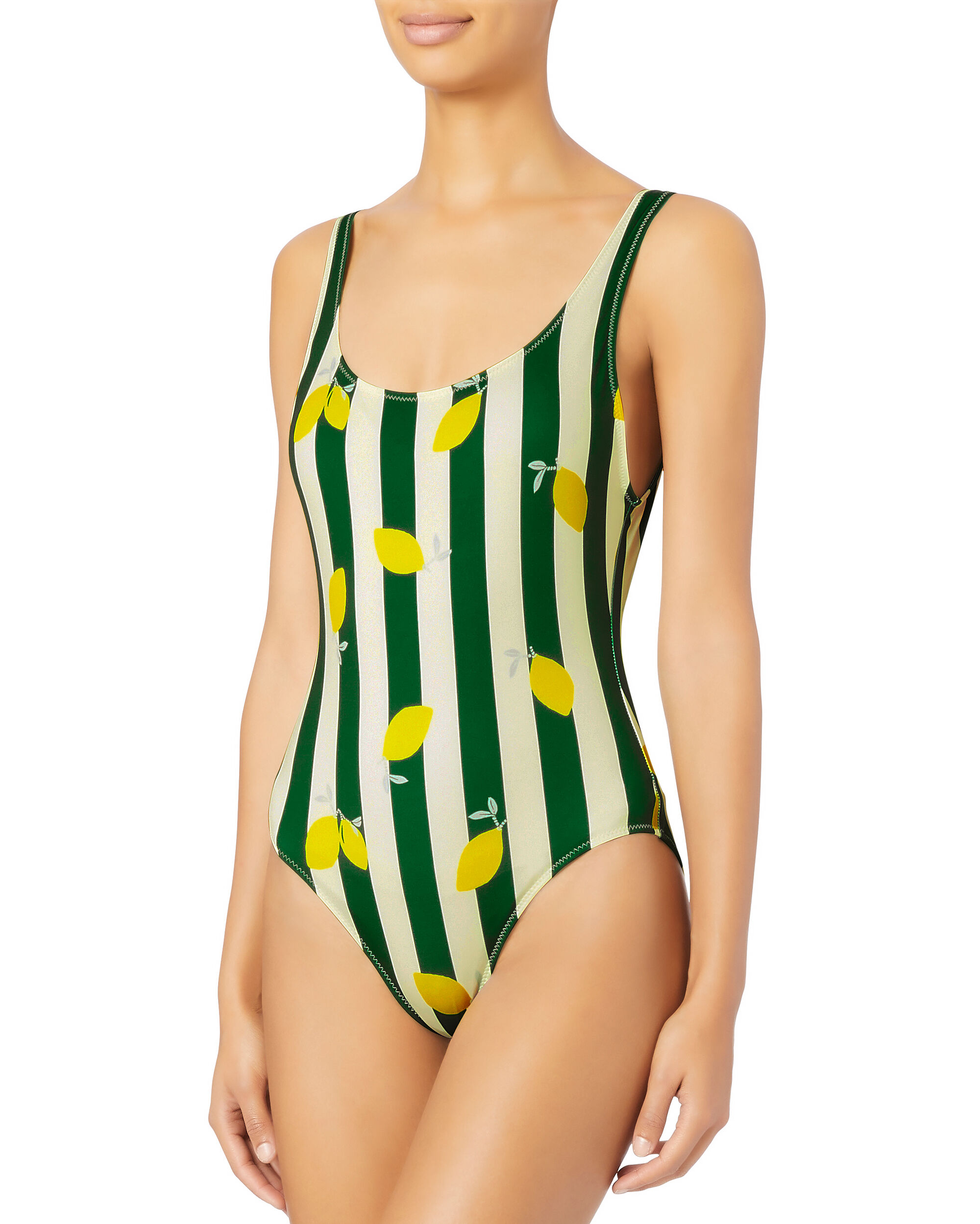 Anne-Marie Lemon-Striped One Piece Swimsuit, PATTERN, hi-res