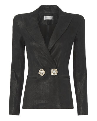 Black Leather Strong Shoulder Blazer, , hi-res