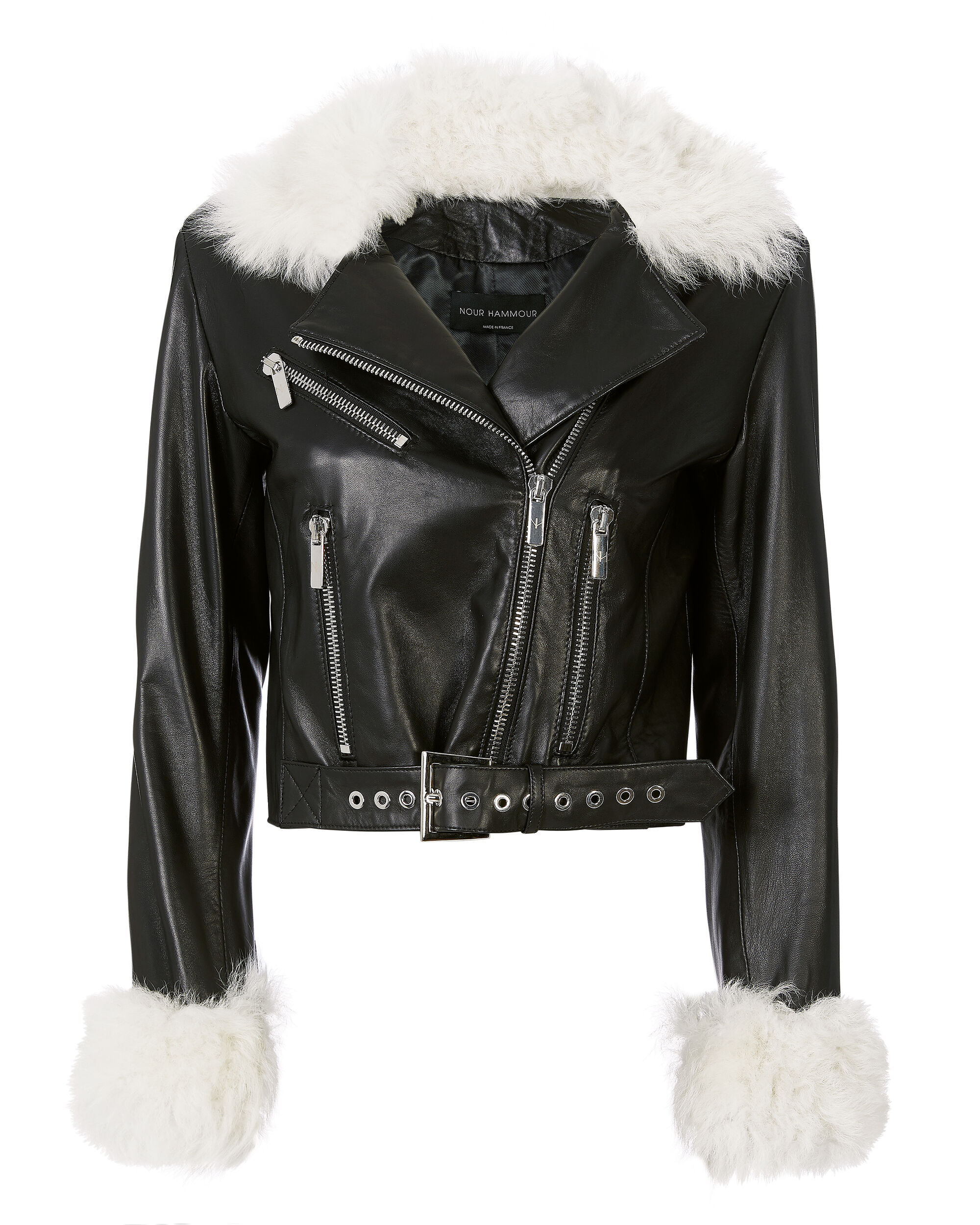 NOUR HAMMOUR White Shearling Trim Leather Jacket