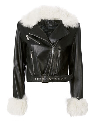 White Shearling Trim Leather Jacket, BLACK, hi-res