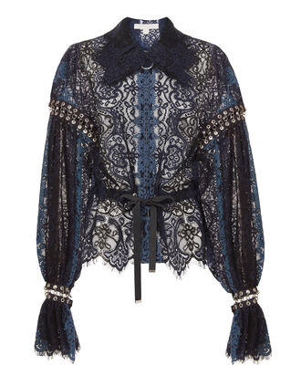 Grommet Lace Jacket, BLUE, hi-res