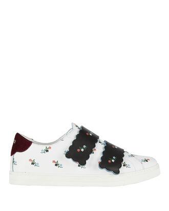 Velcro Floral-Printed Leather Sneakers, PRINT, hi-res