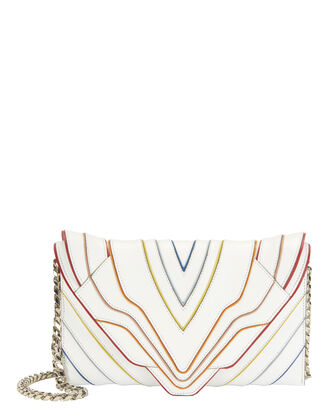Selina White Clutch, WHITE, hi-res