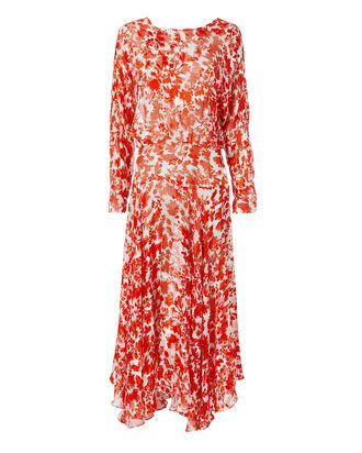 Silk Floral Print Dress, RED, hi-res