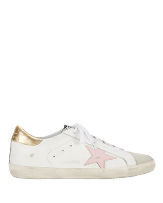 Superstar Pink Star Low-Top Sneakers, WHITE, hi-res