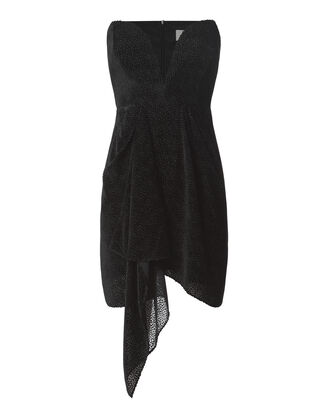 Strapless Velvet Burnout Dress, BLACK, hi-res