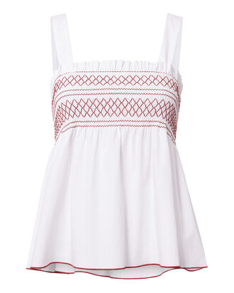 Dolly Smocked Tank, WHITE, hi-res