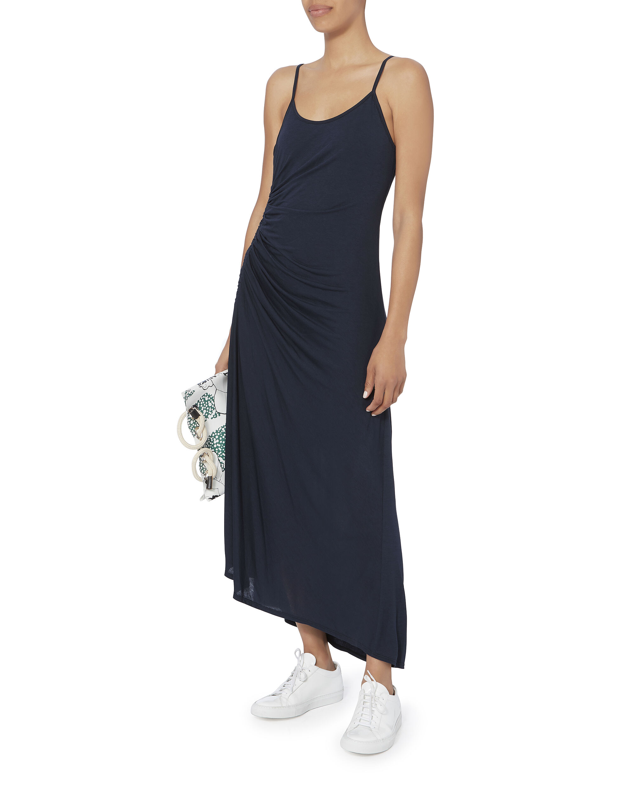 Delia Ruched Tank Dress, NAVY, hi-res