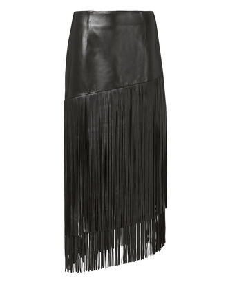 Mayaan Leather Fringe Skirt, BLACK, hi-res