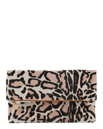 Snow Print Haircalf Foldover Clutch, PRINT, hi-res