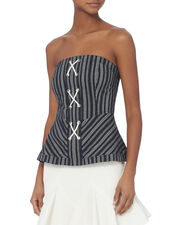 Addison Striped Bustier Top, PATTERN, hi-res
