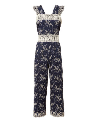 Olive Embroidered Jumpsuit, NAVY, hi-res