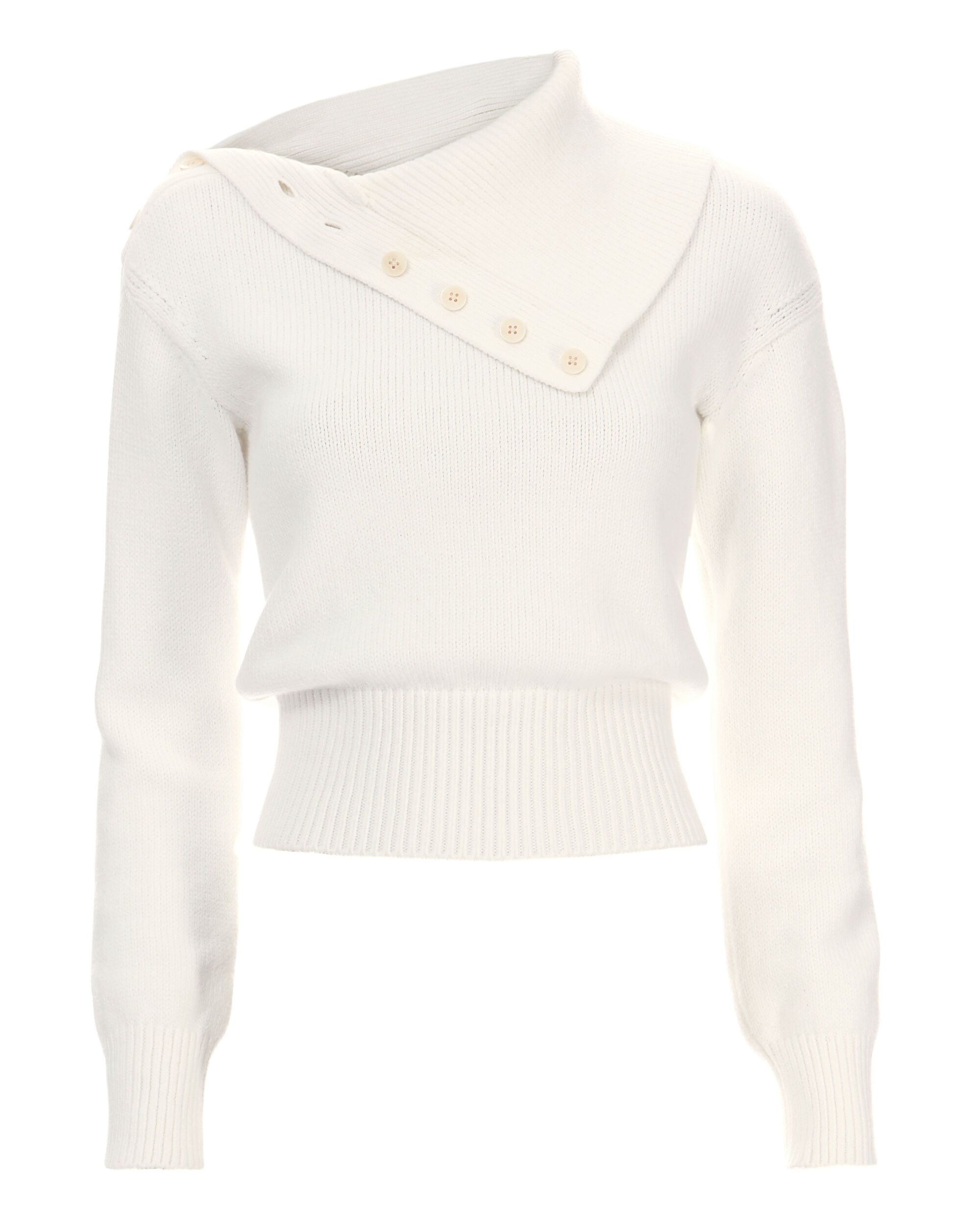 Button Collar Fold-Over Sweater, WHITE, hi-res