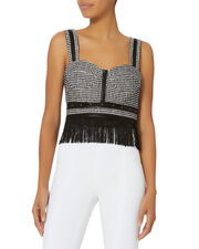 Studded Tweed Fringe Bustier Top, BLACK/WHITE, hi-res