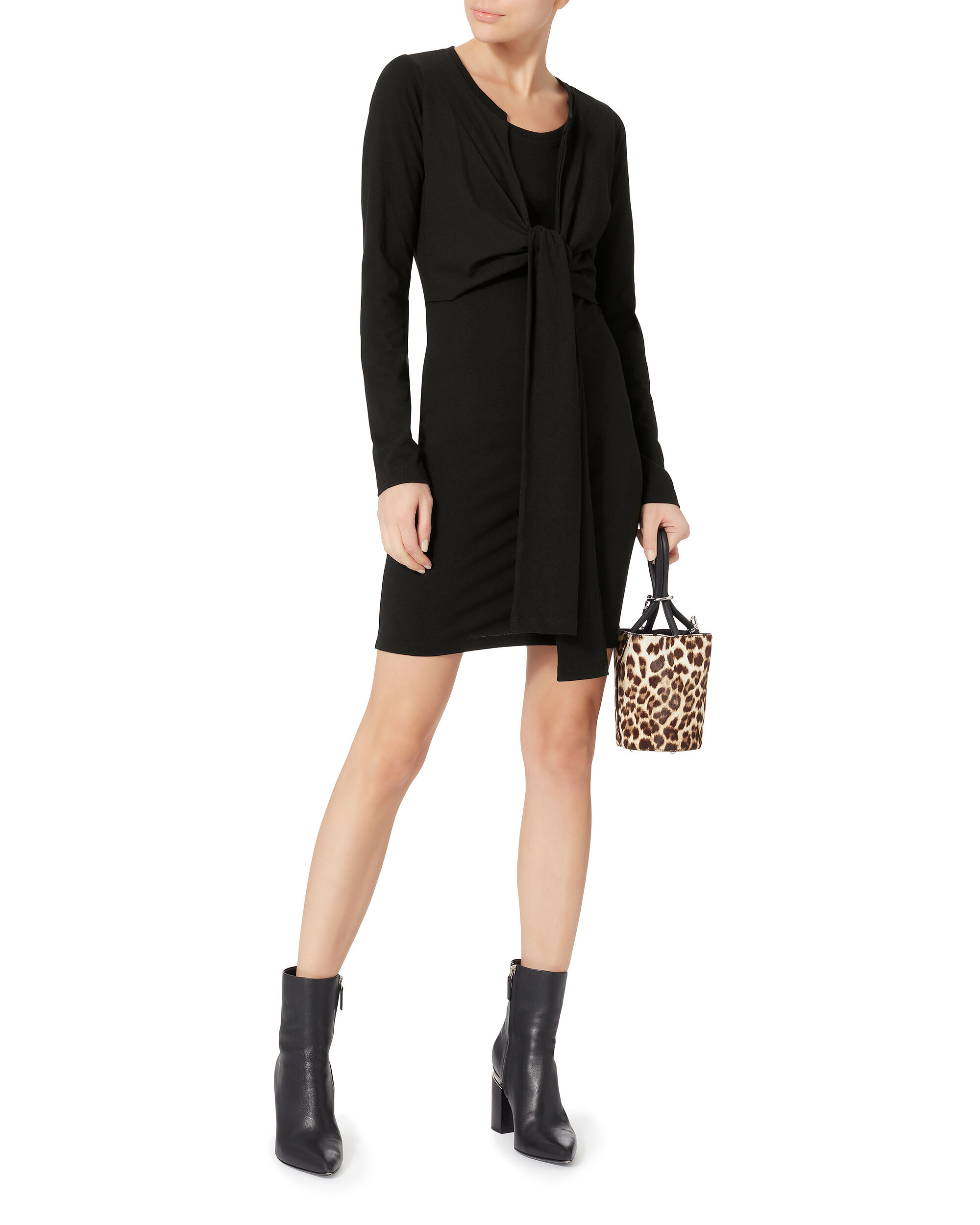 High Twist Long Sleeve Dress, BLACK, hi-res