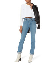 Button Sleeve Cropped Tee, WHITE, hi-res