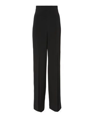 Slit Front Crepe Pants, BLACK, hi-res