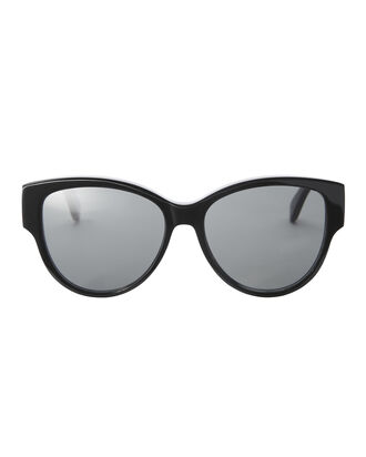 Rounded Cat Eye Black Sunglasses, BLACK, hi-res