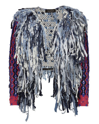 Fringe Denim Macramé Jacket, DENIM, hi-res