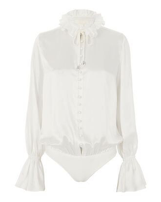 Ruffle Button-Down Bodysuit, IVORY, hi-res