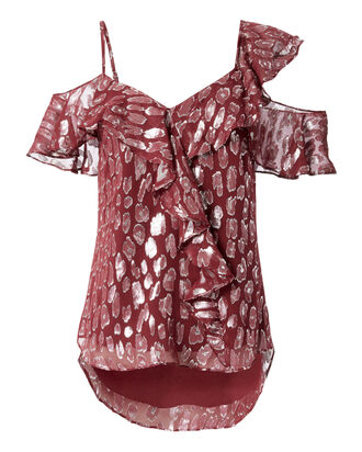 Benton Leopard Cold Shoulder Top, RED, hi-res