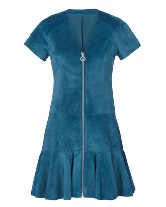 Jaelynn Blue Suede Mini Dress, BLUE, hi-res