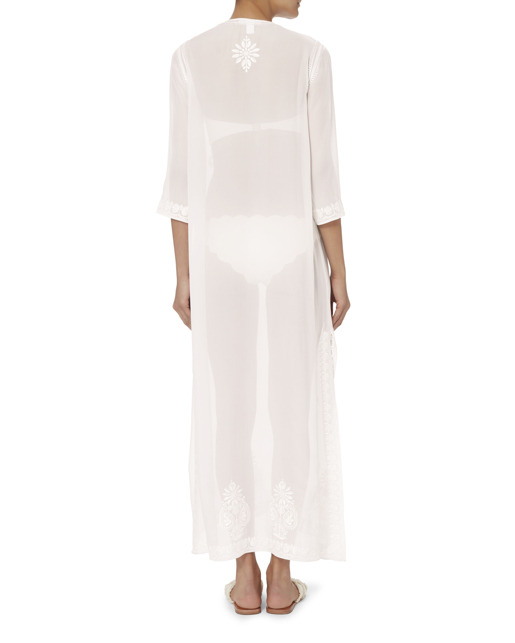 Embroidered Long Tunic, WHITE, hi-res