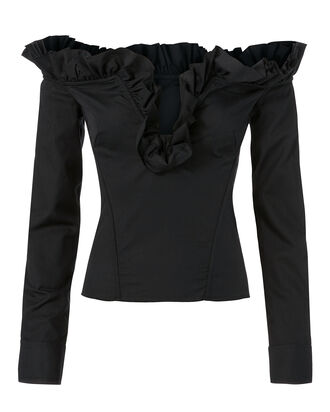 Corset Ruffle Top, BLACK, hi-res