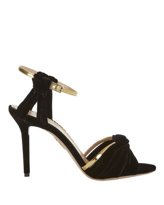 Broadway Knot Velvet Sandals, BLACK, hi-res