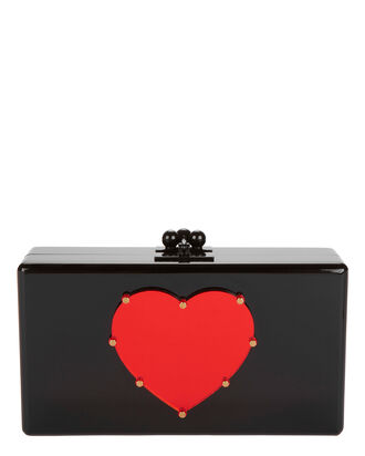 Jean Studded Heart Clutch, BLACK, hi-res