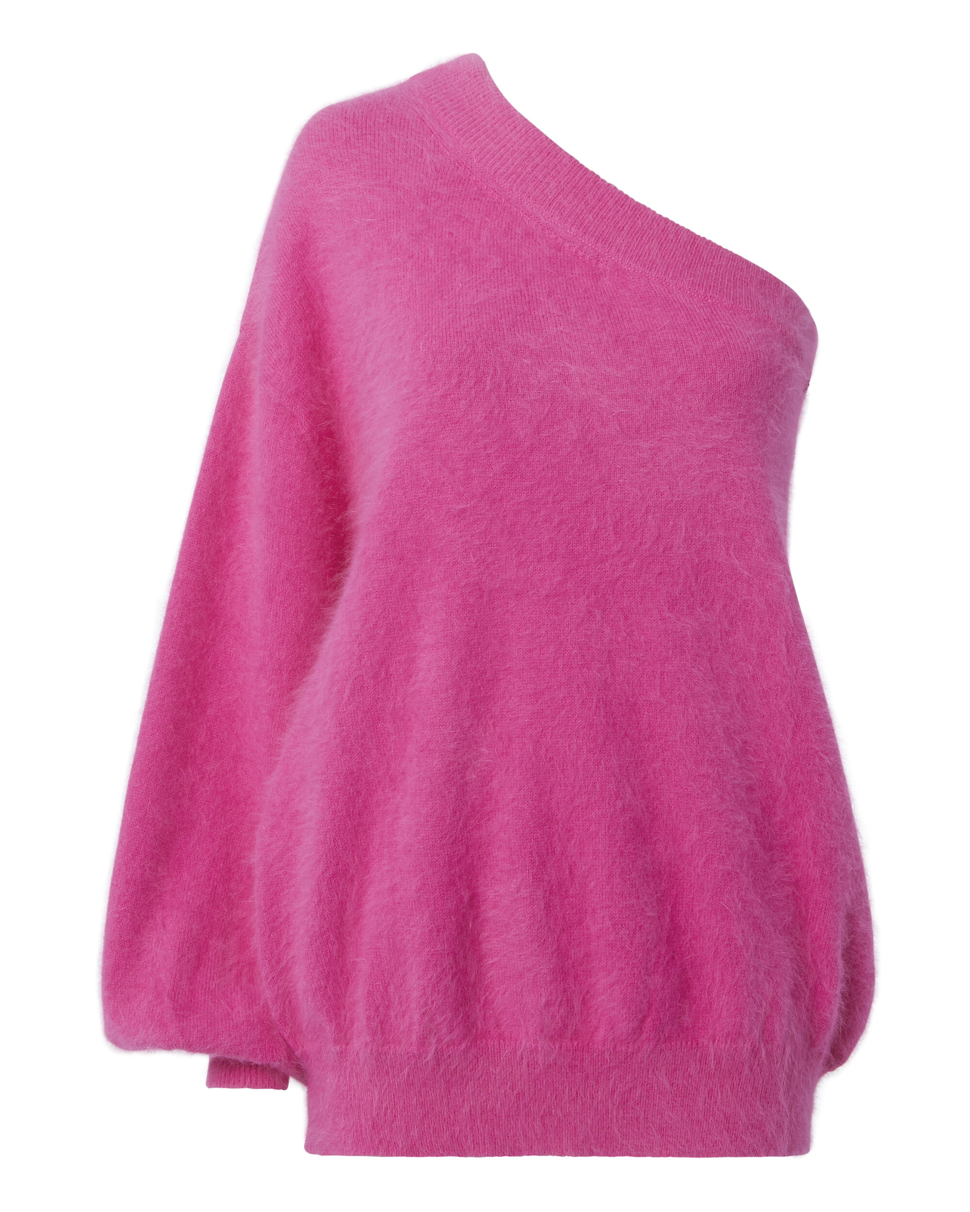 One Shoulder Balloon Sleeve Sweater, PINK, hi-res