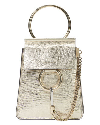 Faye Small Metallic Leather Bag, GOLD, hi-res