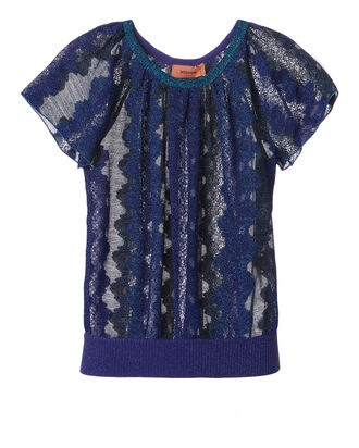 Blue Lurex Lace Top, BLUE, hi-res