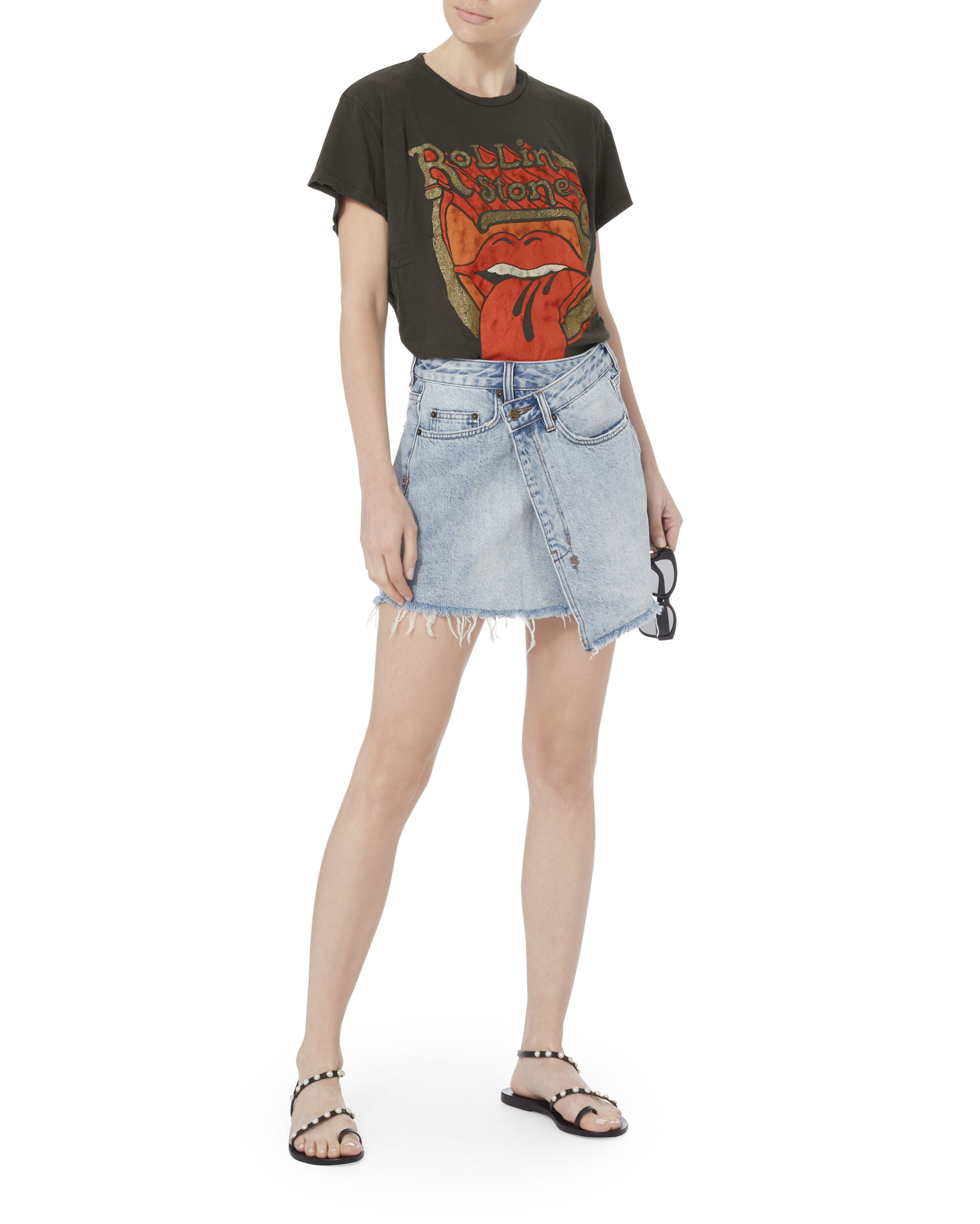Rolling Stones Distressed Glitter Tee, BLACK, hi-res