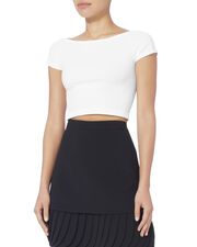 White Cropped Off Shoulder Tee, WHITE, hi-res