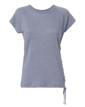 Irys Side Lace-Up Tee, BLUE, hi-res