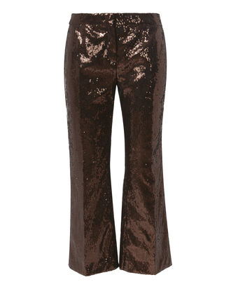 Bronze Sequin Crop Pants, BROWN, hi-res