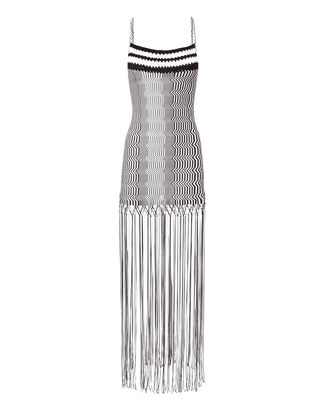Black And White Zig Zag Fringe Mini Dress, BLK/WHT, hi-res