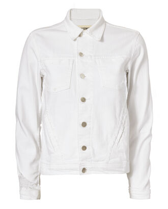 Celine Distressed White Jacket, WHITE, hi-res