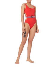 Joan Belted Cutout One Piece Swimsuit, RED, hi-res