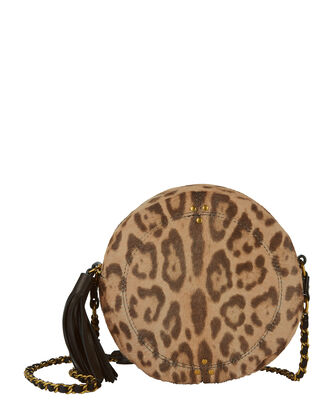 Remi Circle Haircalf Leopard Shoulder Bag, PRINT, hi-res