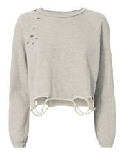Destroyed Cropped Sweatshirt, GREY, hi-res