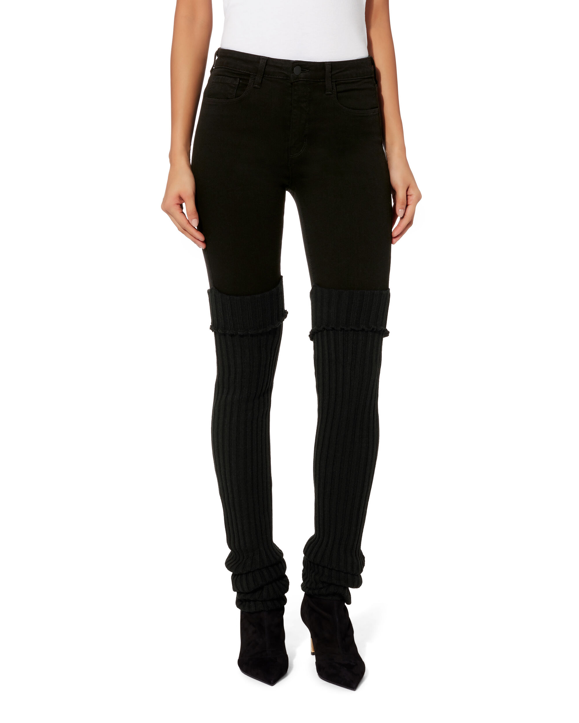 High-Rise Leg Warmer Skinny Jeans, BLACK, hi-res