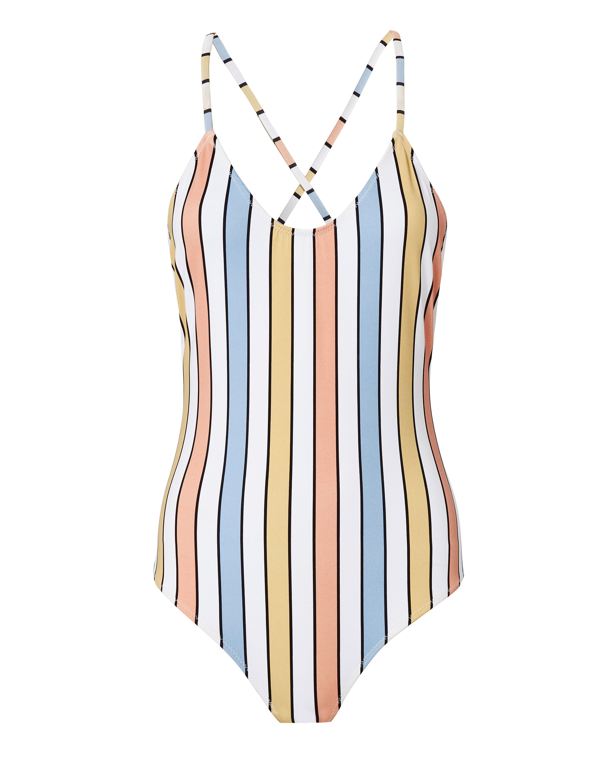 Delfina Striped One Piece Swimsuit, PATTERN, hi-res