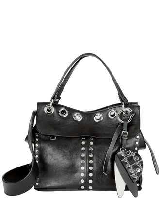 Allover Studded Curl Leather Bag, BLACK, hi-res