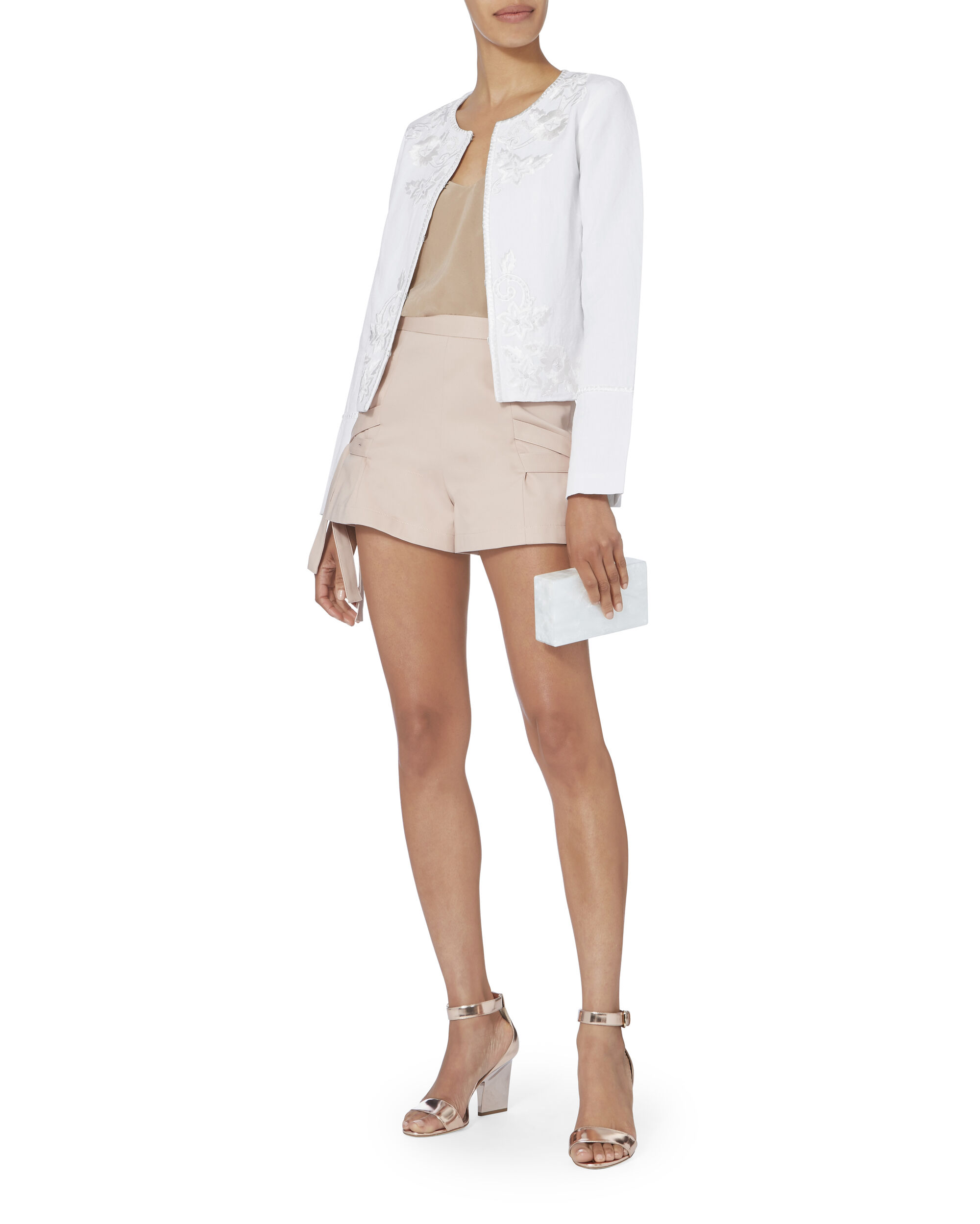Julia Embroidered Linen Jacket, IVORY, hi-res